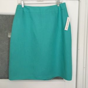 Pursuits, Ltd. linen blend turquoise pencil skirt